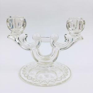 Vintage MCM cut glass double holder candelabra